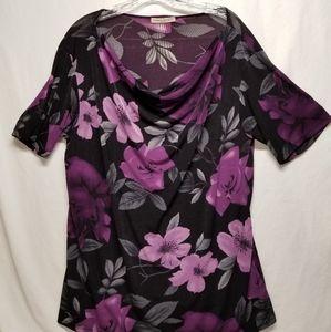 Susan Lawrence Woman Cowl neck SS blouse